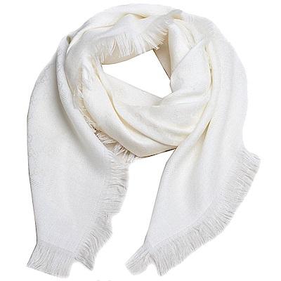 GUCCI SL GG LOGO 高質感絲毛混造型正方形圍巾(米白)