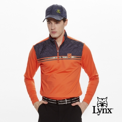 【Lynx Golf】男款異材質拼接反光貼條長袖立領POLO衫-橘色