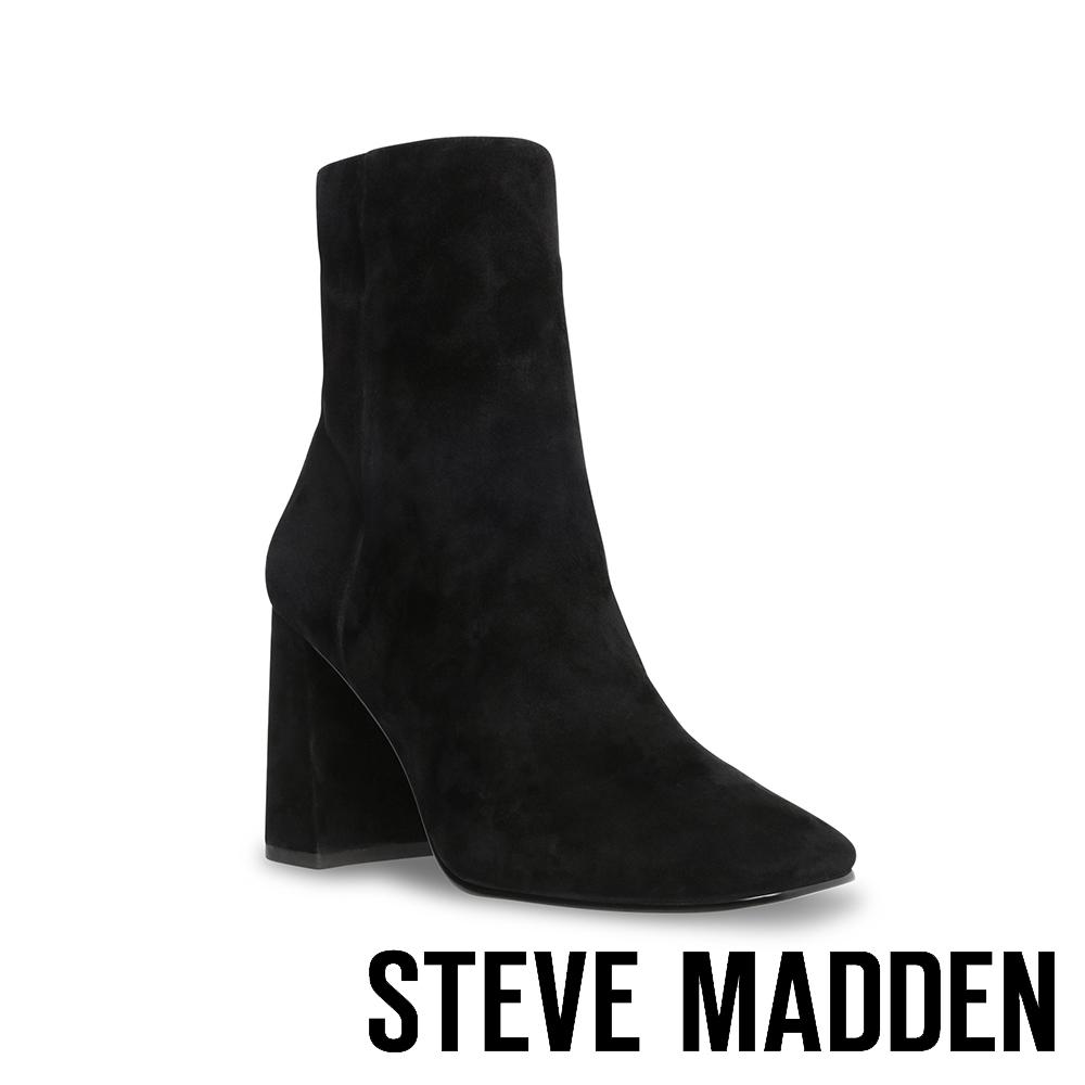 STEVE MADDEN-EMBRY 舒適經典羊絨粗跟中筒靴-黑色