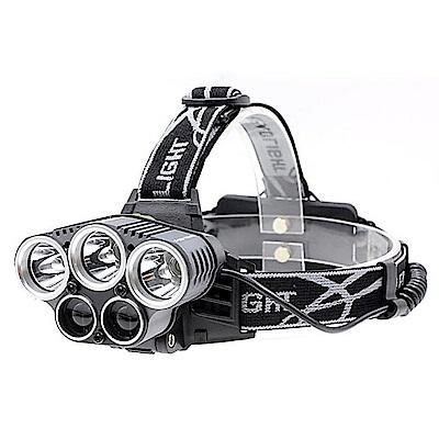 新款 5LED 強光充電頭燈 夜釣狩獵 T6+LTS超強頭燈