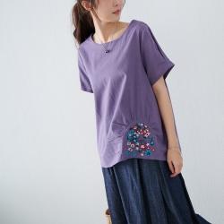 慢 生活 抓皺刺繡棉質短衫- 紫/橘