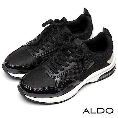 ALDO 原色異材質網眼拼接厚底綁帶氣墊休閒鞋~尊爵黑色
