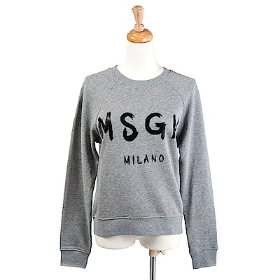 MSGM 經典油漆塗鴉英文字母長袖上衣 (灰色)