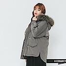 H:CONNECT 韓國品牌 女裝-雙口袋縮口連帽外套-深灰