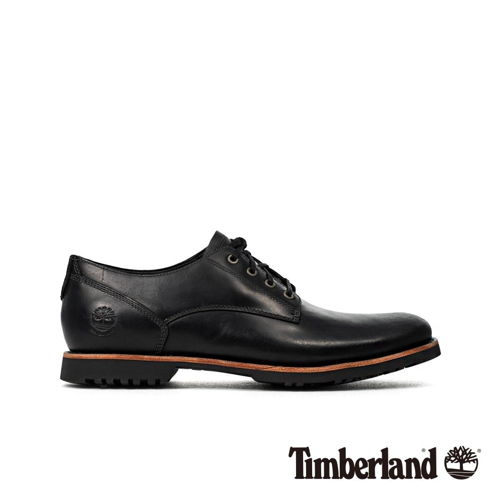 Timberland 男款黑色全粒面革防水牛津休閒鞋|A2961