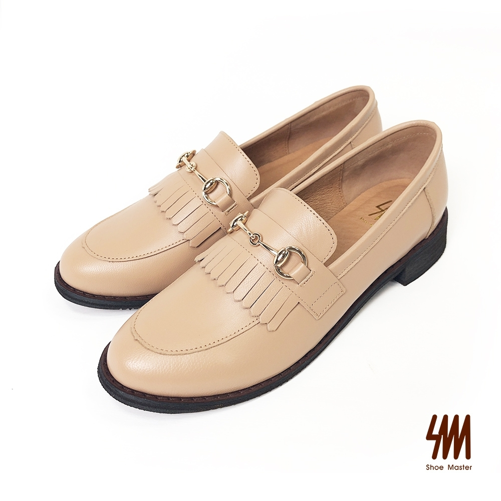 SM-帥氣復古系列-英倫流蘇雙C馬蹄扣小羊皮樂福鞋-奶茶色(兩色)