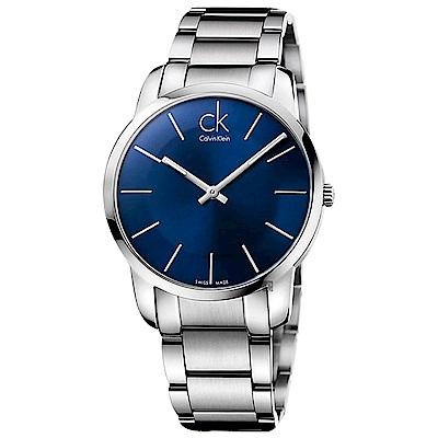 Calvin Klein CK City 極簡經典LOGO手錶-藍x銀/43mm