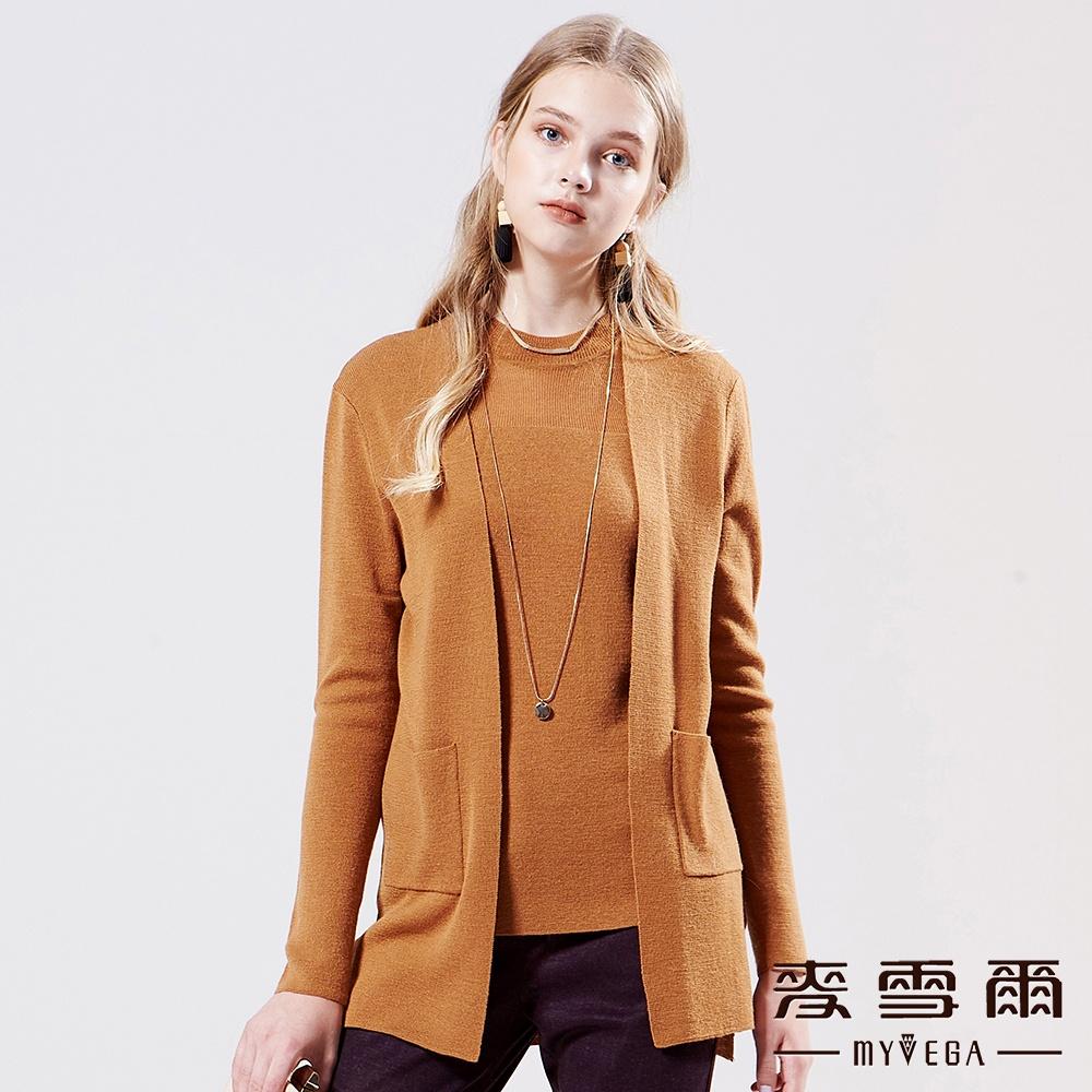 【麥雪爾】羊毛日系小高領針織背心-咖啡