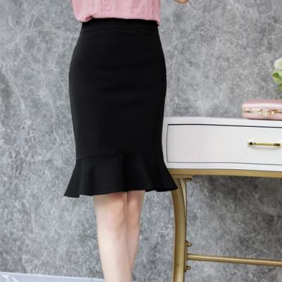 設計所在Lady-魚尾高腰不規則荷葉邊包臀短裙(三色M-2XL可選)