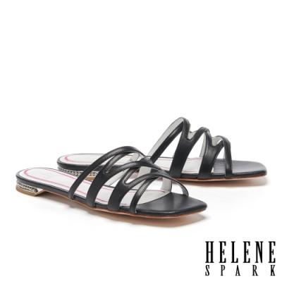 拖鞋 HELENE SPARK 簡約時尚交錯細帶全羊皮平底拖鞋-黑