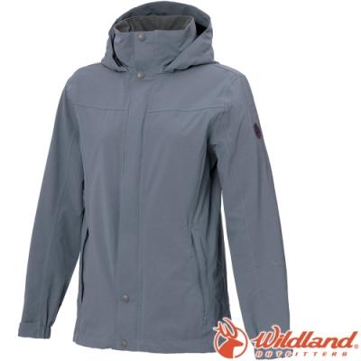 Wildland 荒野 W3911-69灰藍色 女單件式防水透氣外套/防風防雨