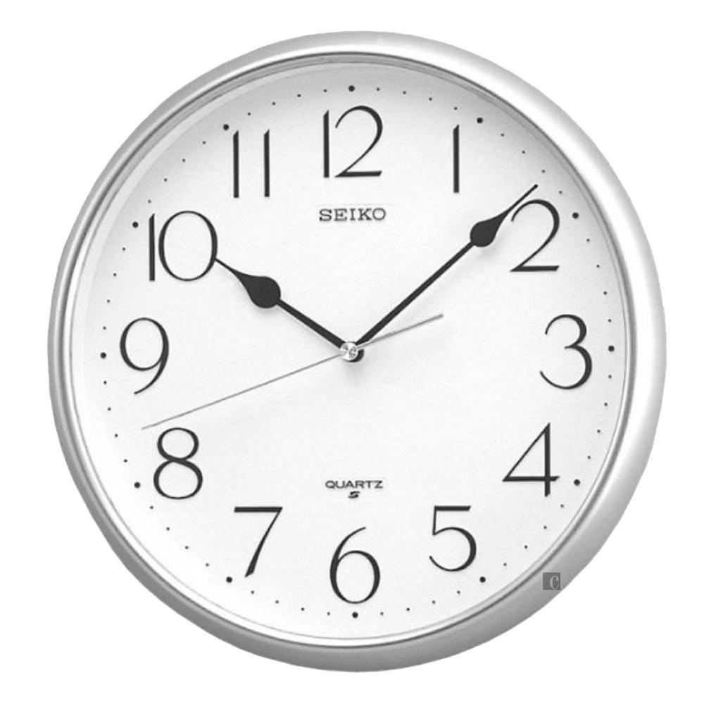 SEIKO 精工 指針式靜音掛鐘(QXA001S)-銀框