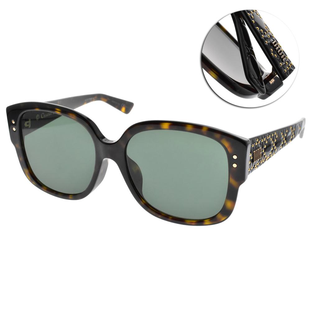DIOR太陽眼鏡 街頭女王款/琥珀-綠 #LADY DIOR STUDS F 086O7