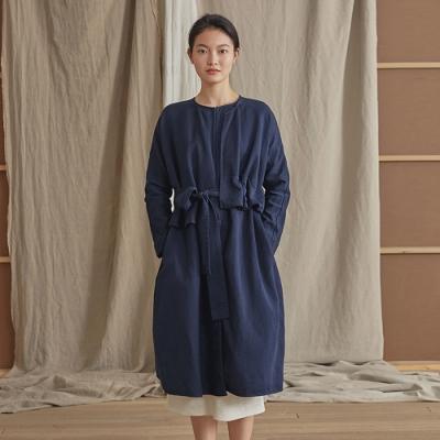旅途原品_比海更深_原創設計棉麻假兩件繫帶風衣外套- 藏青色