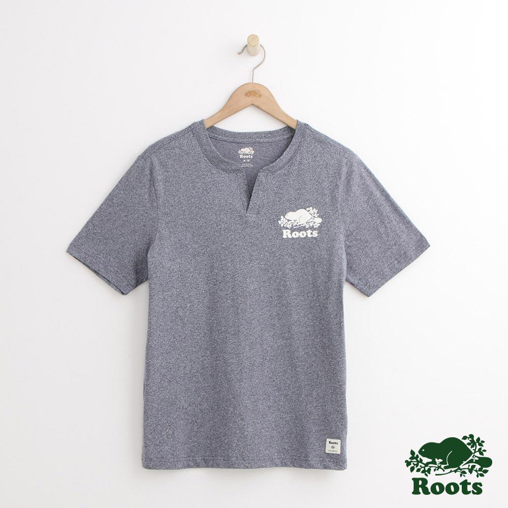 Roots 男裝-開襟庫柏海狸短袖T恤-藍色