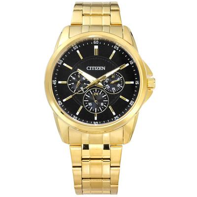 CITIZEN 星辰表 三眼星期日期防水不鏽鋼手錶-黑x鍍金/42mm