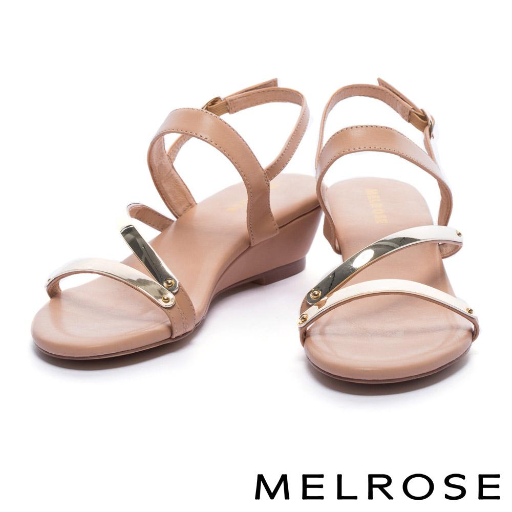 涼鞋 MELROSE 時尚金屬質感層次繞帶牛皮楔型涼鞋-橘