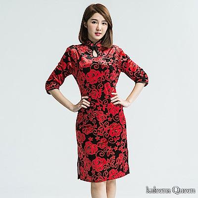 KaleenaQueen 婉約怡人絲絨晚宴旗袍-紅