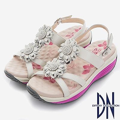 DN 夏日花漾 真皮立體花朵厚底涼鞋-白