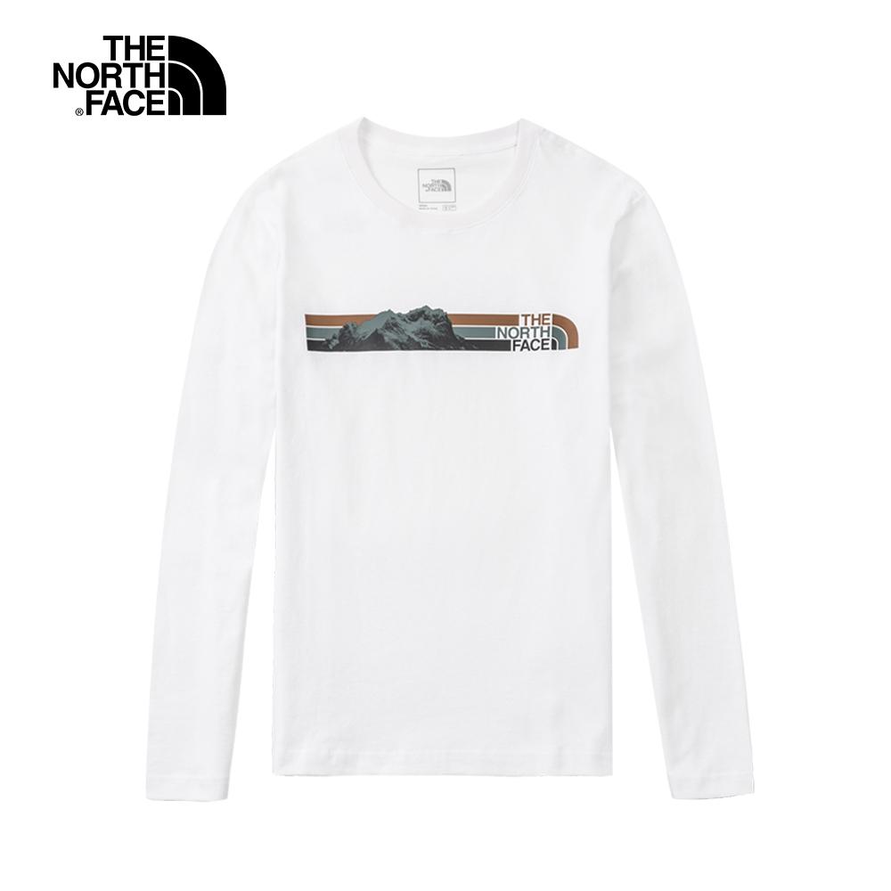 The North Face北面男款白色胸前特色印花圓領長袖上衣 5AZGFN4