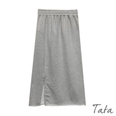 不收邊鬆緊腰開衩棉裙 共二色 TATA-(S~L)