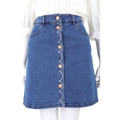 SEE BY CHLOE 花瓣刺繡排釦設計藍色牛仔裙