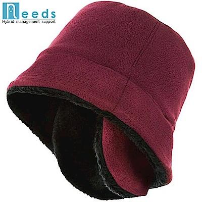 日本NEEDSあったかリバーシブル帽子#674即雙面戴溫暖好收納帽子(一面羊毛、一面絨毛)674126 紅/黑674560 黑/灰