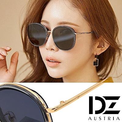DZ 潮人層圓框 抗UV防曬太陽眼鏡墨鏡(金框深灰片)