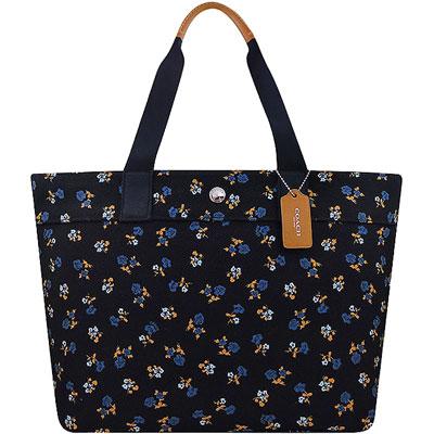 COACH 黑色花朵圖樣厚織帆布托特包-大型