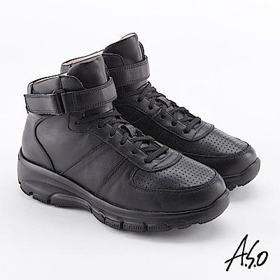A.S.O  超彈力 真皮魔鬼氈超彈力休閒鞋 黑