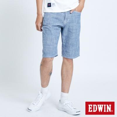 EDWIN 503 基本五袋棉質 休閒短褲-男-石洗藍
