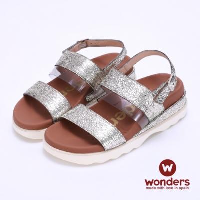 WONDERS西班牙進口 金箔亮麗雙飾釦後帶涼拖鞋-金色