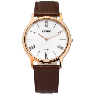 SEIKO 精工 環保太陽能 羅馬 礦石強化玻璃 牛皮手錶-銀白x玫瑰金框x咖啡/38mm