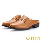 ORIN 復古潮流 金屬飾扣牛皮低跟穆勒鞋-棕色