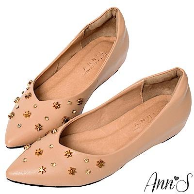 Ann'S甜美中的小個性-星星鉚釘V型顯瘦內增高尖頭鞋-棕