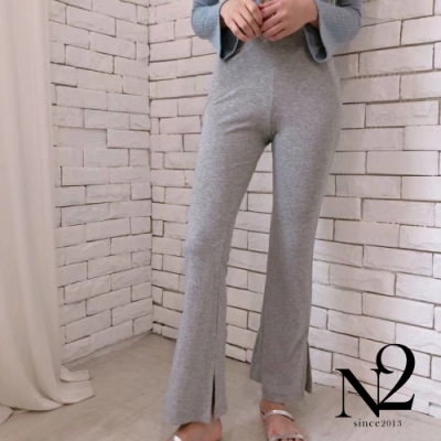 下著 正韓素面棉質側開岔彈性休閒褲(灰)N2