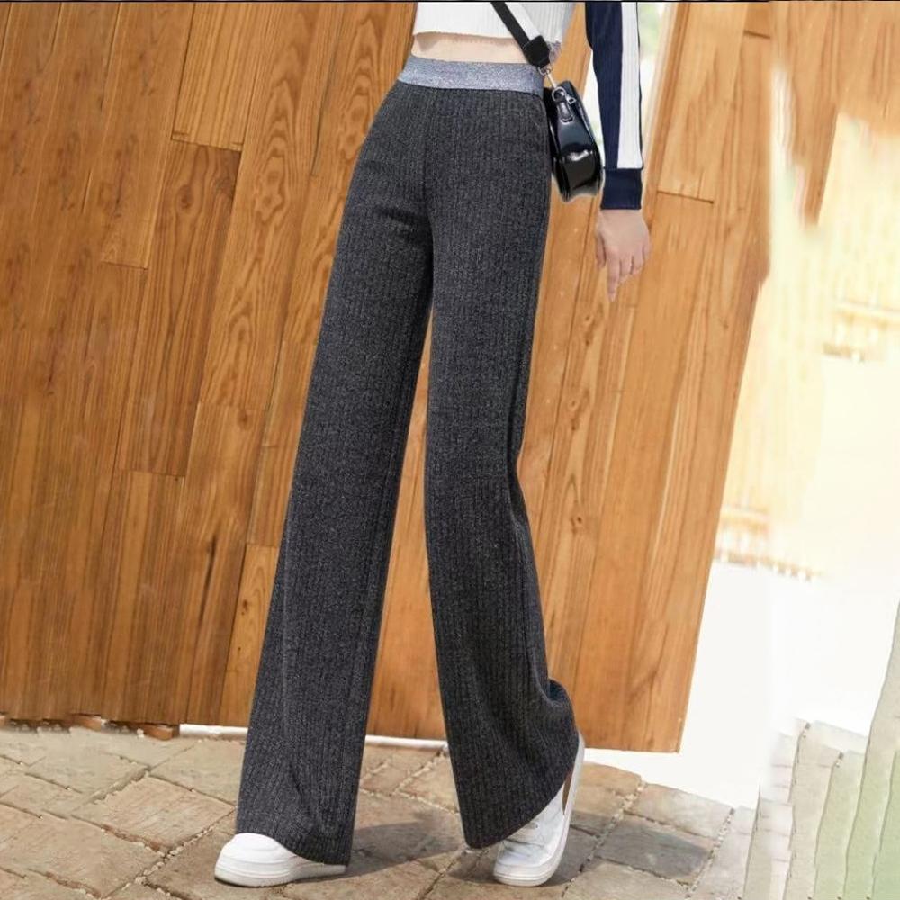 初色  高腰拖地針織寬褲-共2色-(M-2XL可選)