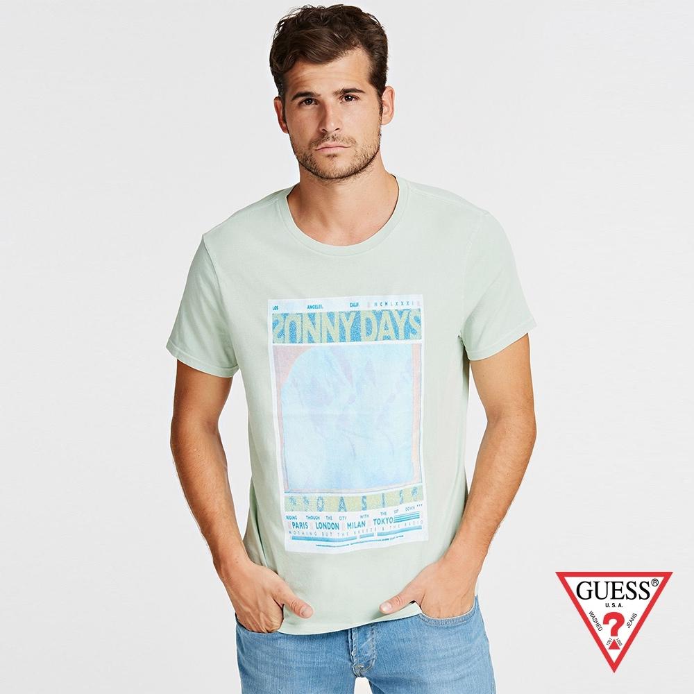 GUESS-男裝-素色簡約休閒字母短T,T恤-綠 原價1290