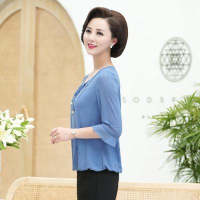 高貴新款時尚雪紡衫套裝XL-4XL(共兩色)-理子時尚