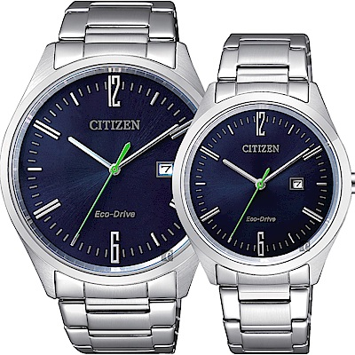 CITIZEN 星辰 Eco-Drive 光動能時尚對錶-藍/42+34mm