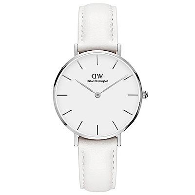 DW手錶 官方旗艦店 32mm銀框 Classic Petite 純真白真皮皮革手錶