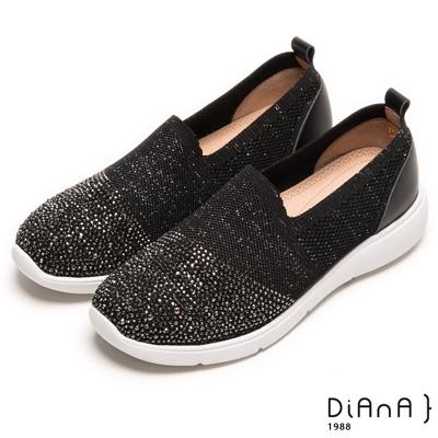 DIANA 璀璨樂活--耀眼亮蔥針織漫天水鑽輕量休閒鞋-黑