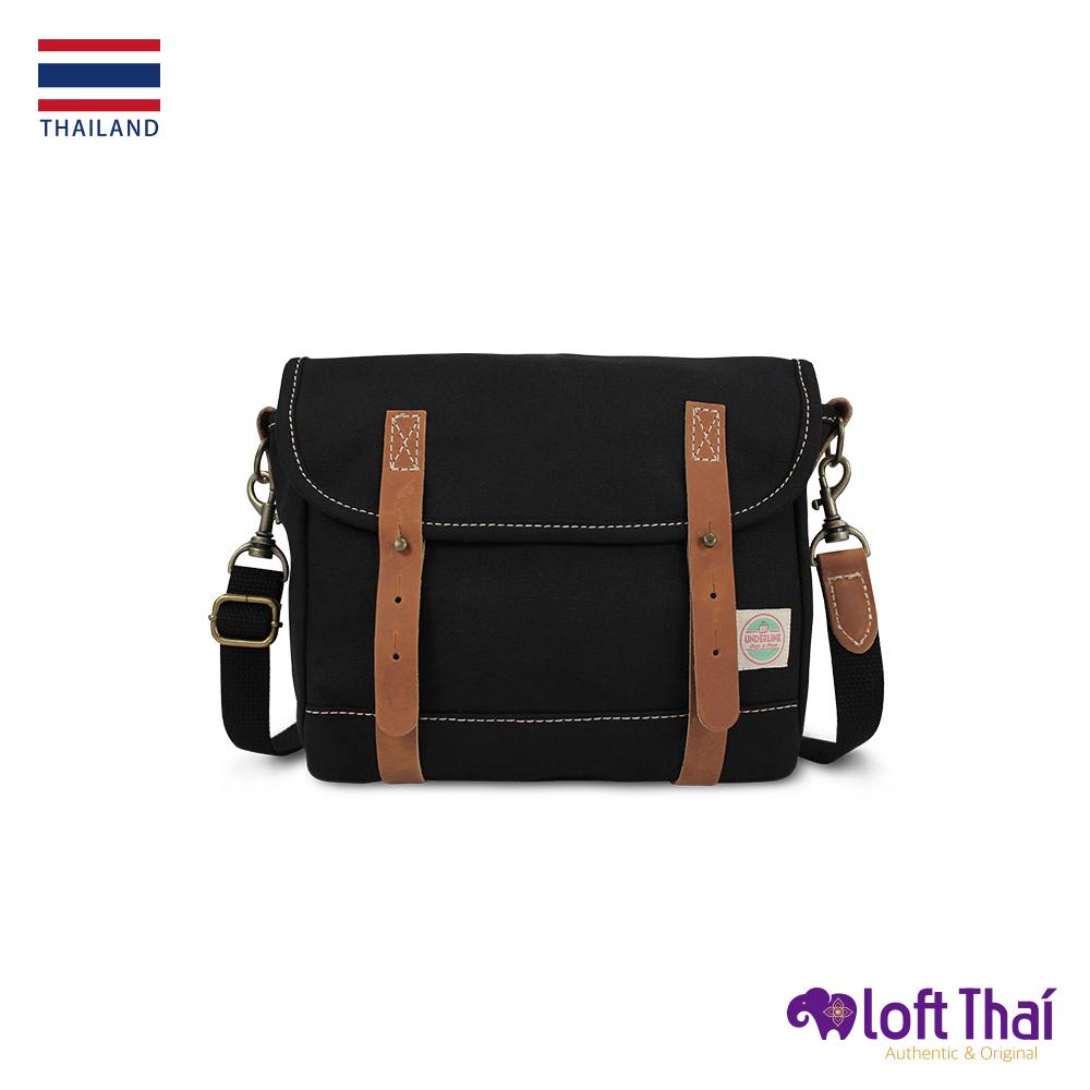 Loft THAI | 泰.真皮帆布復古郵差包 | Black