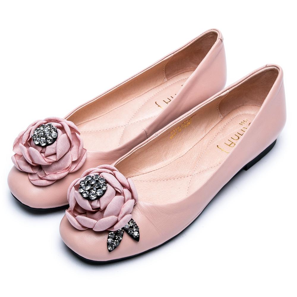 DIANA綻放花朵水鑽真皮平底鞋-時尚指標-粉
