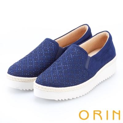 ORIN 休閒時尚風 幾何洞洞燙鑽平底休閒便鞋-藍色