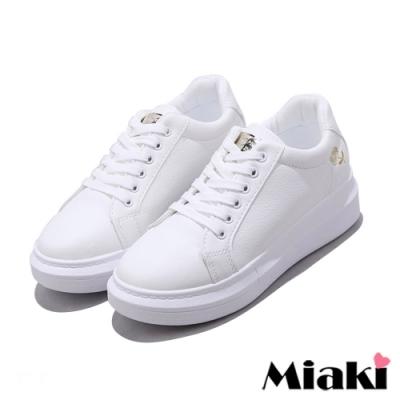 Miaki-小白鞋剌繡韓風厚底休閒鞋-金