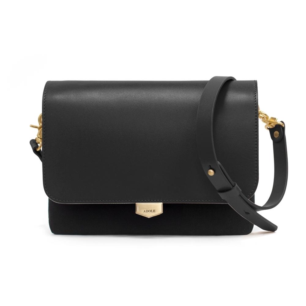 【IBAOBAO愛包包】ADOLE-ADay真皮袋蓋三層帆布包/黑+黑