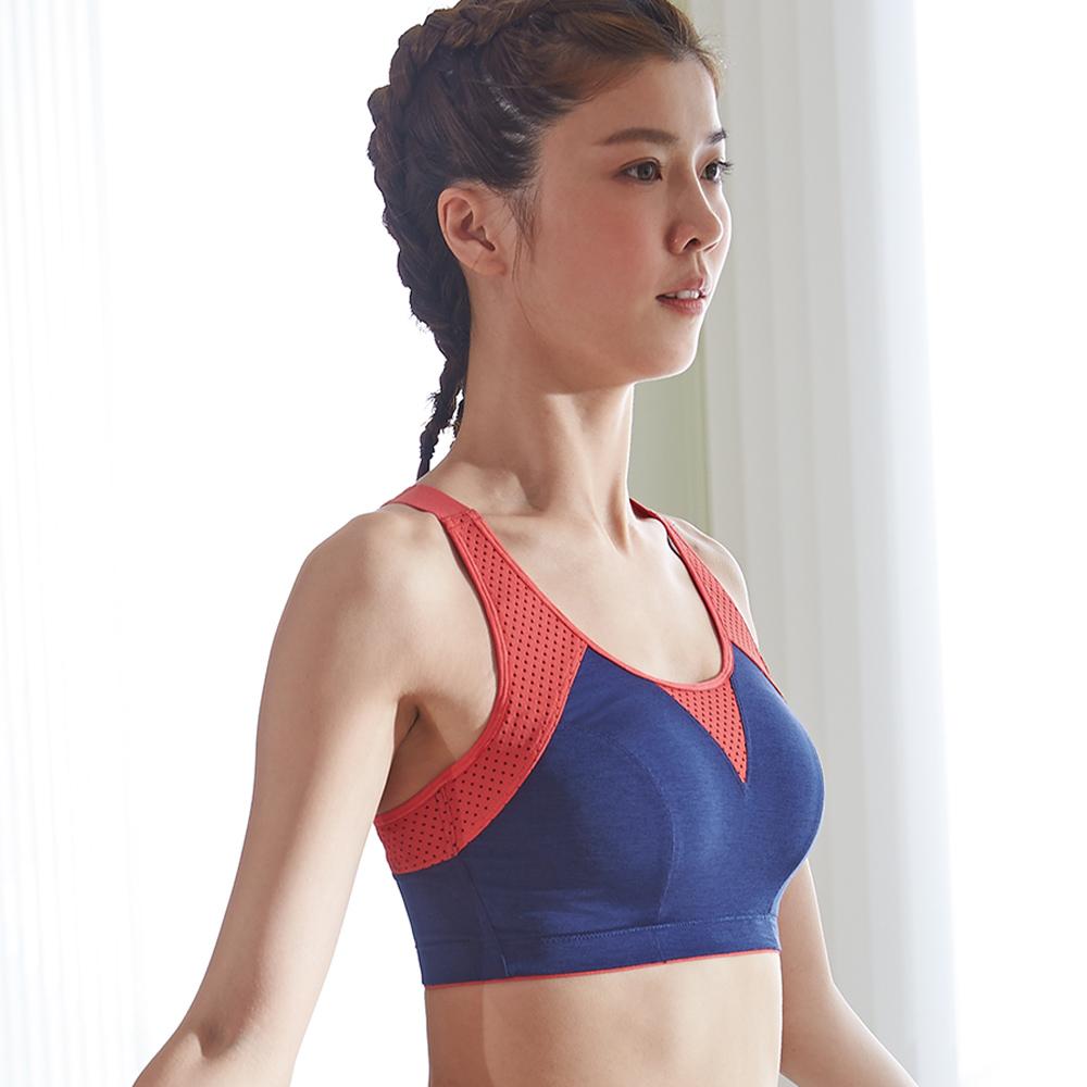 蕾黛絲-LadieSport好運動-Level4-吸震背心CE罩杯內衣 勁橘藍