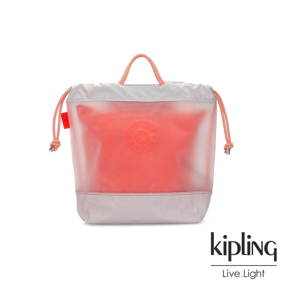 Kipling 夏日珊瑚橘果凍拉繩背提包-KIONAWA