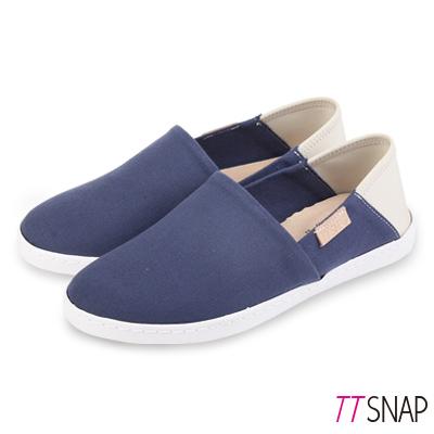 TTSNAP懶人鞋-MIT兩穿2WAY帆布真皮休閒鞋 深藍